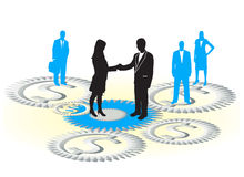 Business people. Illustration of cog-wheels, business people  and dollars Royalty Free Stock Photography