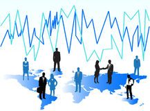 Business people. Illustration of business people, graph and world Stock Photos