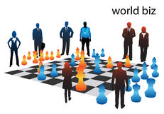 Business people. Playing chess.... world biz stock illustration