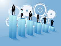 Business people. Illustration of business people and graph Stock Photos