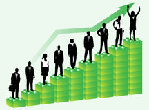 Business people. Illustration of business people and graph, green Stock Photos
