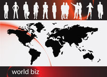 Business people. Illustration of business people with world map vector illustration