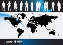 Business people. Illustration of business people with world map royalty free illustration