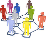 Business people 3D social media network. Symbol people connect in nodes of 3D social media network Royalty Free Stock Photo
