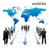 Business people. Illustration of business people with world map Stock Images