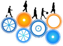 Business people. Illustration of business people, blue, orange Royalty Free Stock Image