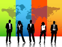 Business people. Illustration of business people with world map background Stock Photography