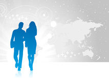 Business people. Standing on with world map Royalty Free Stock Photo