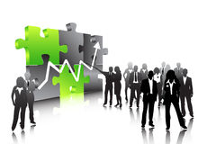 Business people. Illustration of business people.... graph on puzzle royalty free illustration