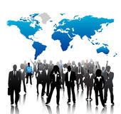 Business people. Illustration of business people with world map background Stock Image