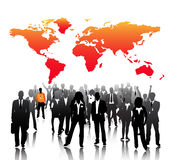 Business people. Illustration of business people with world map background Royalty Free Stock Photos