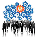 Business people. Illustration of business people with gears background stock illustration