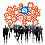 Business people. Illustration of business people with gears background Royalty Free Stock Photo