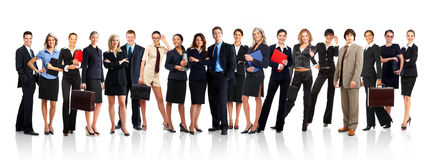 Business people. Large group of young smiling business people. Over white background