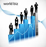 Business people. Vector illustration of business people on graph royalty free illustration