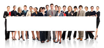 Business people. Large group of young smiling business people. Over white background stock photo