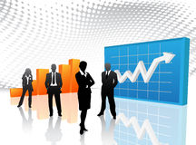 Business people. Vector illustration of business people in graph world stock illustration