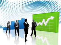 Business people. Vector illustration of business people in graph world royalty free illustration