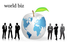 Business people. Vector illustration of business people with world map apple stock illustration