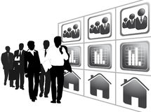 Business people. Illustration of business people, black, white Stock Images