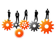 Business people. Vector illustration of business people on the gears royalty free illustration