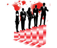 Business people. Illustration of business people, map and graph Royalty Free Stock Images