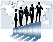 Business people. Illustration of business people, map and graph Stock Images
