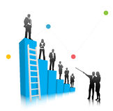 Business people. Vector illustration of business people on the graph Royalty Free Stock Image