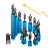 Business people. Vector illustration of business people on the graph Royalty Free Stock Images