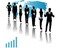 Business people. Illustration of business people, map and shadows Stock Photo