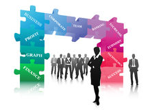 Business people. Vector illustration of business people with puzzle gate Stock Images