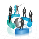 Business people. Vector illustration of business people with globe Stock Photo