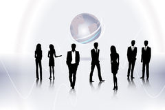 Business people. People on the abstract globe background Royalty Free Stock Photo