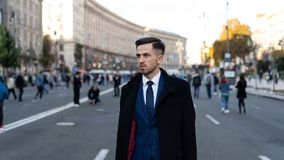 Businessman or ceo urban fashion. Modern life and agile business. Business and success. Man in formal outfit outdoors royalty free stock images