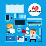 Business People with Advertising Medias stock illustration