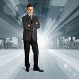 Business People against Conceptual Background Stock Photography