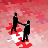 Business people agree on problem puzzle solution. Business people partners agree and shake hands on solution to problem puzzle royalty free illustration