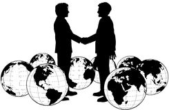 Business people agreement global handshake. Business people handshake on global deal in circle of world globes Royalty Free Stock Photos
