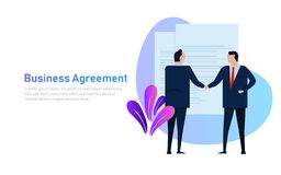 Business people agreement standing handshake wearing suite formal. Concept vector banner style vector illustration