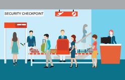 Business people in airport terminal, security check. Stock Photography