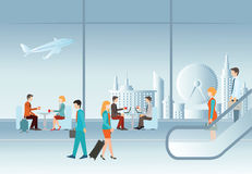 Business people in airport terminal. Royalty Free Stock Photo