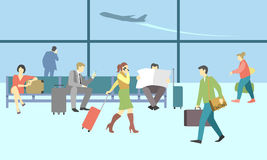 Business people in airport terminal. Vector travel Stock Photo