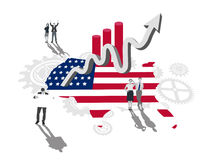 Business people on america outline with flag colours and up arrow Stock Photos