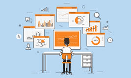 Business people analytics business graph on monitor concept Stock Photography