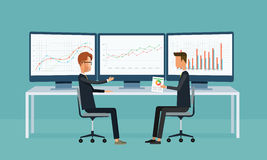 Business people analytics graph report on monitor dashboard Royalty Free Stock Photography