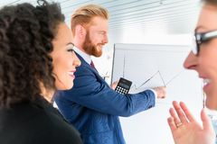 Business people analyze graph at whiteboard Stock Image