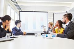 Business people analyzing statistics flipchart stock images