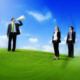Business People Announcement Megaphone Team Concept Stock Image
