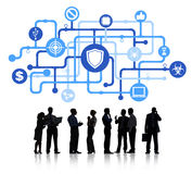 Business People with Antivirus Symbol royalty free stock image