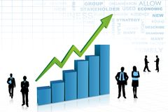 Business People aorund Bar Graph. Illustration of silhouette of business people standing with bar graph Stock Photos
